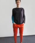 Bluza z długim rękawem - szaro - turkusowa