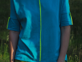 Bluza z krótkim rękawem - turkusowa z limonkową wstawką