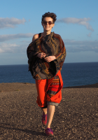 Spódnica BaMaKo midi, pomarańczowa