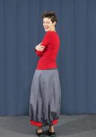 Spódnica BaMaKo szaro - niebieska