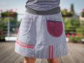 Spódnica krótka, w paski - szaro - bordowa