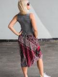 Sukienka asymetryczna, szaro - bordowa we wzory
