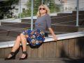Sukienka krótka we  wzory, szaro - chabrowa